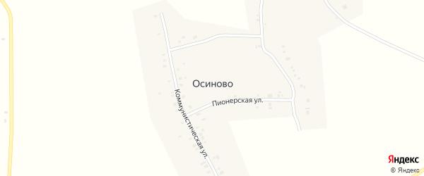 Коммунистическая улица на карте деревни Осиново с номерами домов