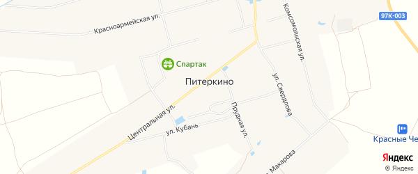 Карта деревни Питеркино в Чувашии с улицами и номерами домов