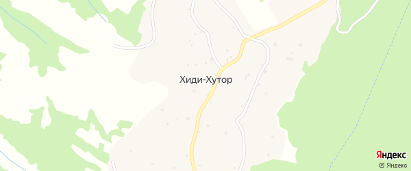 Улица Л.А.Ешуркаева на карте села Хиди-Хутора с номерами домов