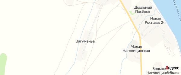 Карта деревни Загуменья в Архангельской области с улицами и номерами домов