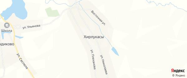 Карта деревни Хирлукасы в Чувашии с улицами и номерами домов