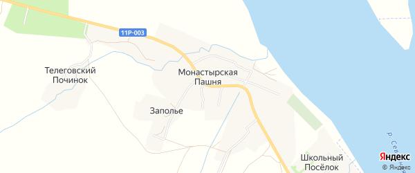 Карта деревни Монастырской Пашни в Архангельской области с улицами и номерами домов