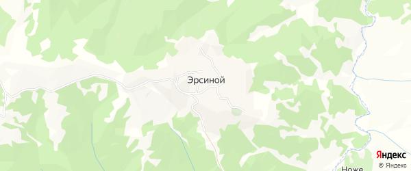 Карта села Эрсиной в Чечне с улицами и номерами домов