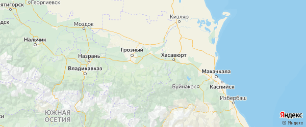 Карта Курчалоевский района республики Чечня с населенными пунктами и городами