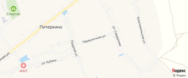 Переулочная улица на карте деревни Питеркино с номерами домов