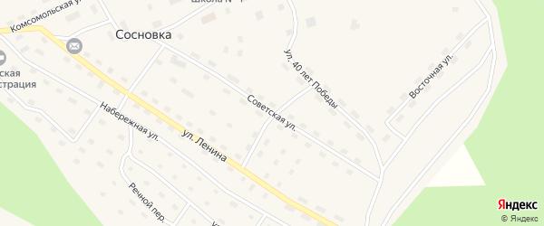 Советская улица на карте поселка Сосновки с номерами домов