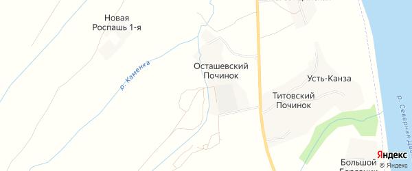 Карта деревни Осташевского Починка в Архангельской области с улицами и номерами домов