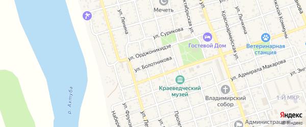 Улица Болотникова на карте Ахтубинска с номерами домов