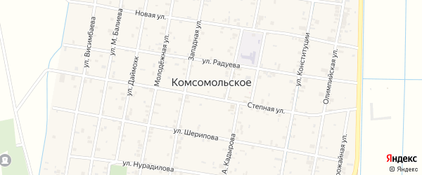 Улица А.Дениева на карте Комсомольского села с номерами домов