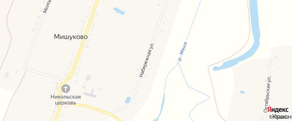 Набережная улица на карте села Мишуково с номерами домов