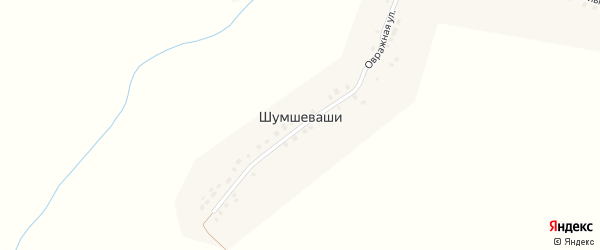 Пришкольная улица на карте деревни Шумшевашей с номерами домов