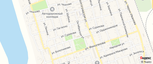 Улица Сурикова на карте Ахтубинска с номерами домов