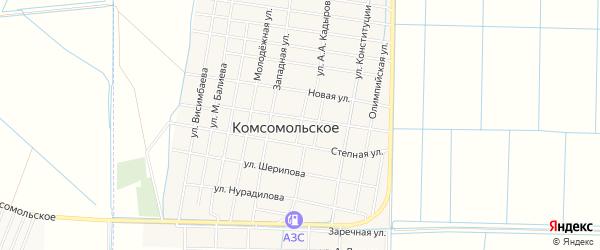 Карта Комсомольского села в Чечне с улицами и номерами домов