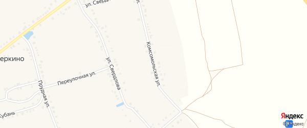 Комсомольская улица на карте деревни Питеркино с номерами домов