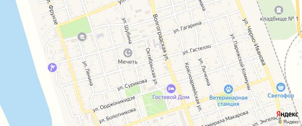 Октябрьская улица на карте Ахтубинска с номерами домов