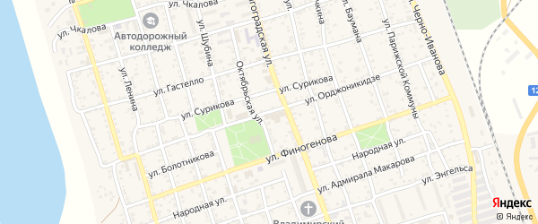 Улица Орджоникидзе на карте Ахтубинска с номерами домов