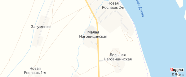 Карта Малой Наговицинской деревни в Архангельской области с улицами и номерами домов