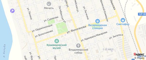 Улица Финогенова на карте Ахтубинска с номерами домов