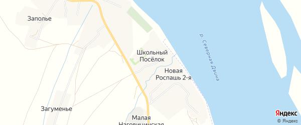 Карта деревни Школьного Поселка в Архангельской области с улицами и номерами домов