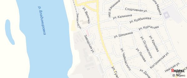 Переулок Величко на карте Ахтубинска с номерами домов
