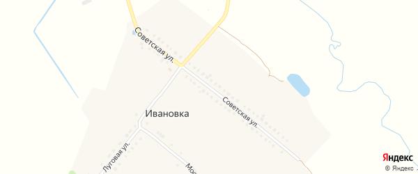 Советская улица на карте деревни Ивановки с номерами домов