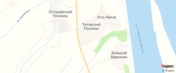 Карта деревни Усть-Канзы в Архангельской области с улицами и номерами домов