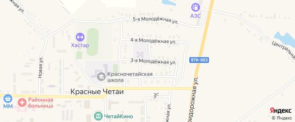 Молодежная 3-я улица на карте села Красные Четаи с номерами домов