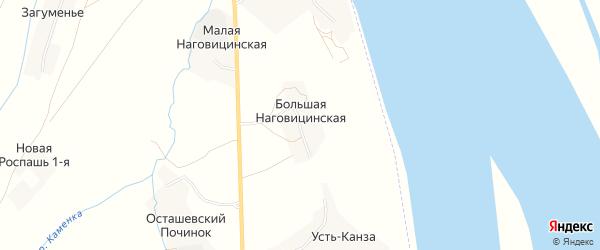 Карта Большей Наговицинской деревни в Архангельской области с улицами и номерами домов