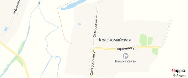 Октябрьская улица на карте Красномайской деревни с номерами домов