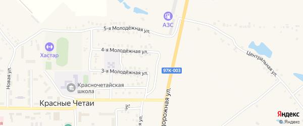 Придорожная улица на карте села Красные Четаи с номерами домов