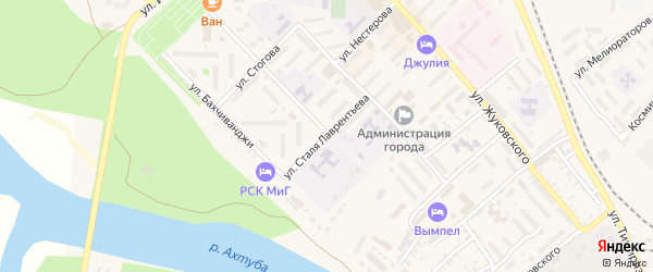 Улица Ст.Лаврентьева на карте Ахтубинска с номерами домов