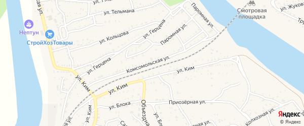 Комсомольская улица на карте Ахтубинска с номерами домов