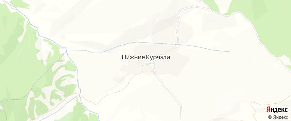 Карта села Нижние Курчали в Чечне с улицами и номерами домов