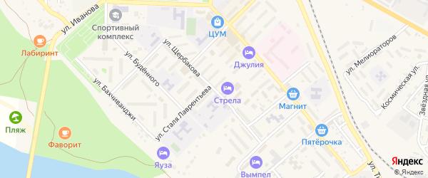 Улица Щербакова на карте Ахтубинска с номерами домов