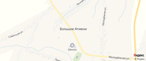 Речная улица на карте деревни Большие Атмени с номерами домов