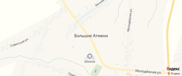 Молодежная улица на карте деревни Большие Атмени с номерами домов
