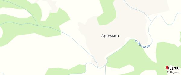 Карта деревни Артемихи в Архангельской области с улицами и номерами домов