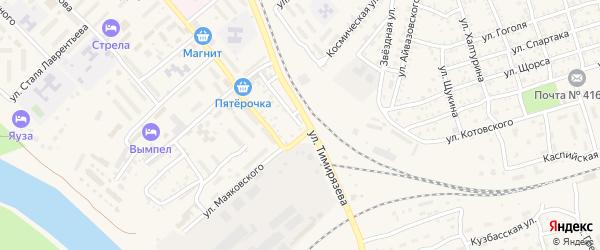 Улица Тимирязева на карте Ахтубинска с номерами домов