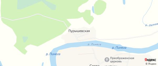 Карта Пурышевская деревни в Архангельской области с улицами и номерами домов