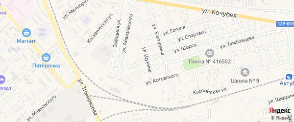 Улица Щукина на карте Ахтубинска с номерами домов