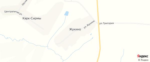 Карта деревни Жукино в Чувашии с улицами и номерами домов