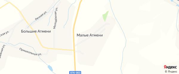 Карта деревни Малые Атмени в Чувашии с улицами и номерами домов