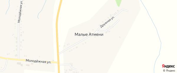 Дружная улица на карте деревни Малые Атмени с номерами домов