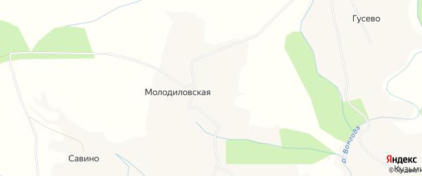 Карта Молодиловской деревни в Архангельской области с улицами и номерами домов