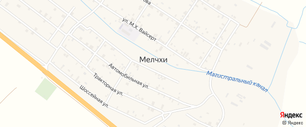 Ореховая улица на карте села Мелчхи с номерами домов