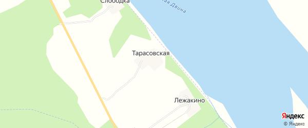 Карта Тарасовской деревни в Архангельской области с улицами и номерами домов