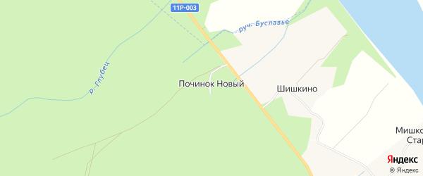 Карта деревни Починка Нового в Архангельской области с улицами и номерами домов