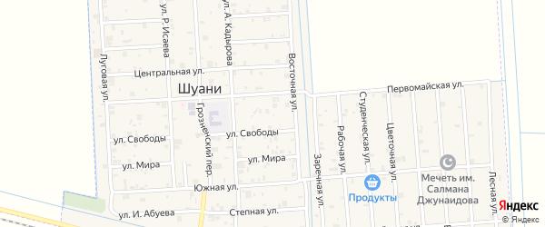 Шоссейная улица на карте села Шуани с номерами домов