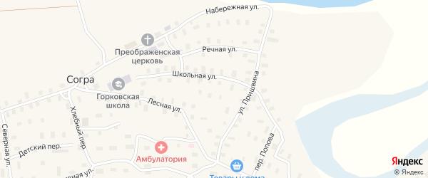 Лесная улица на карте деревни Согра с номерами домов