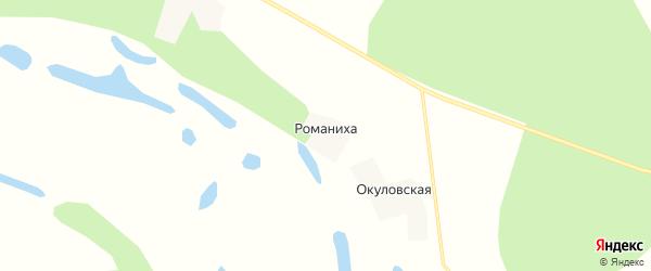 Карта деревни Романихи в Архангельской области с улицами и номерами домов